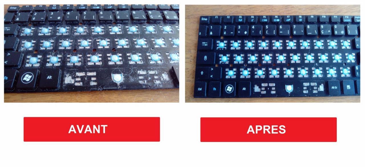 remplacement clavier Acer aspire 9 - avant apres