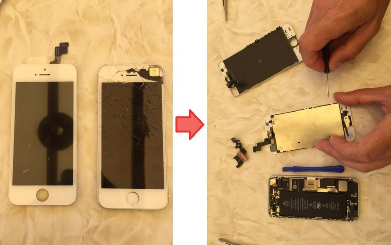 Remplacement vitre iphone 5S
