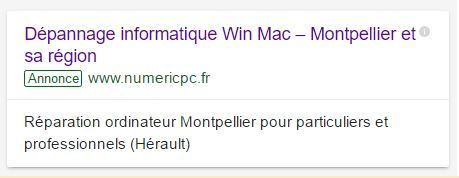 Google adwords annonce